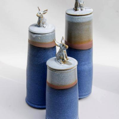 Gres boite animal haute bleu blanc